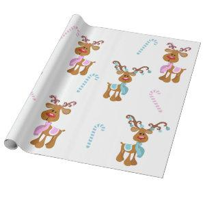 Christmas Reindeer Pink Blue Gender Reveal Party Wrapping Paper
