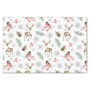 Christmas Reindeer Stag and Bird Woodland Pattern Tissue Paper