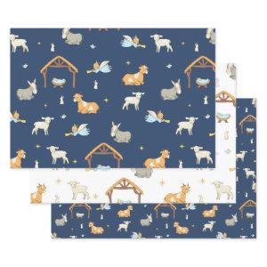 Christmas Religous Nativity wrapping paper sheets