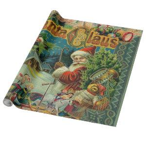 Christmas Santa Claus Antique Vintage Victorian Wrapping Paper