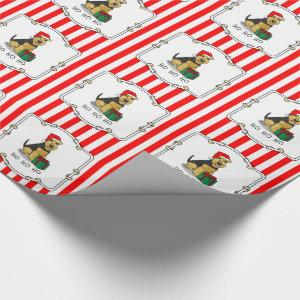 Christmas Santa Claus Hat Welsh Terrier Dog Cute Wrapping Paper