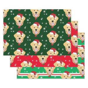 Christmas Santa Golden Retriever Dog Snowflake Wrapping Paper Sheets