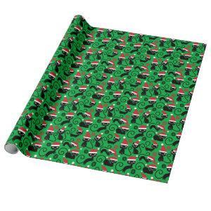 Christmas Santa Kitty Cat Green Wrapping Paper