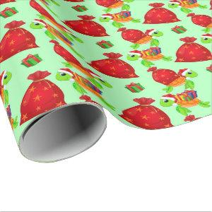 Christmas Santa sea turtle pattern Wrapping Paper