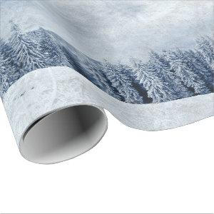 Christmas snow in the trees scene wrapping paper