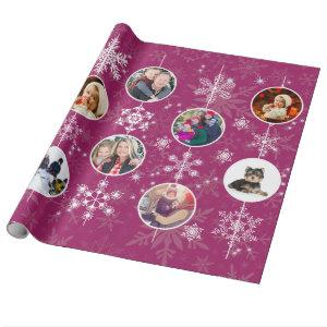 Christmas Snowflakes Favorite Family Photo Fuchsia Wrapping Paper