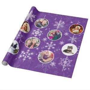 Christmas Snowflakes Favorite Family Photos Purple Wrapping Paper