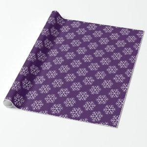 Christmas Snowflakes on Purple Wrapping Paper