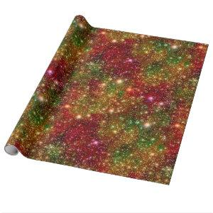 Christmas Stars Galaxy Cosmic Outer Space Glitter Wrapping Paper