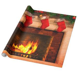 Christmas Stockings and Fireplace Wrapping Paper