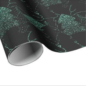 Christmas Tree Black Woodland Fancy Glitter Green Wrapping Paper