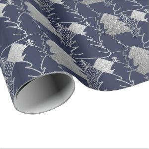 Christmas Tree Blue Navy Silver Gray Glitter Wood Wrapping Paper