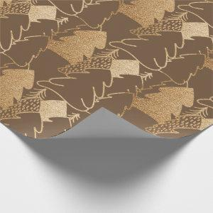 Christmas Tree Bronze Gold Fancy Glitter Wood Wrapping Paper