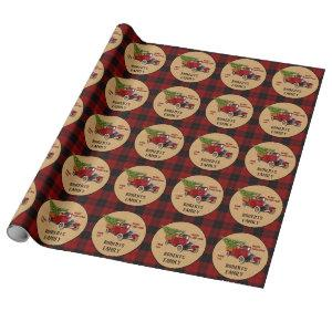 Christmas Tree Farm Vintage Truck Red Plaid Rustic Wrapping Paper