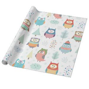 Christmas Tree Friends | Cute Festive Owls Wrapping Paper