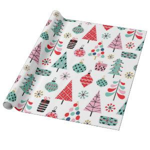 Christmas tree. Modern blue, red and pink pattern Wrapping Paper