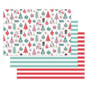 Christmas tree. Modern blue, red and pink pattern Wrapping Paper Sheets