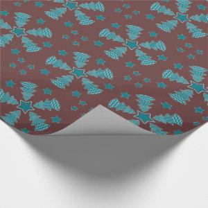 Christmas Tree Stars Wheel Maroon Aqua Teal Wrapping Paper