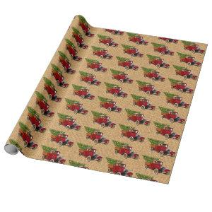 Christmas Tree Vintage Red Truck Rustic Burlap Wrapping Paper
