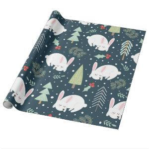 Christmas Trees & Bunnies Holiday Bunny Rustic Wrapping Paper