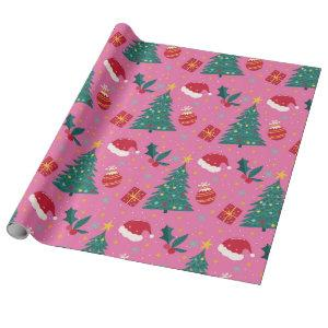 Christmas Trees Hats Ornament Pattern Pink Wrapping Paper