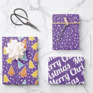 "Christmas trees ""Merry Christmas"" snow purple Wrapping Paper Sheets"