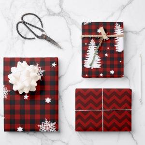 Christmas Trees Red Black Plaid Chevron Wrapping Paper Sheets