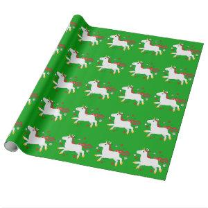 Christmas Unicorn with Stars Wrapping Paper