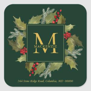 Christmas Watercolor Monogram Holly Wreath Green Square Sticker
