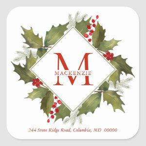 Christmas Watercolor Monogram Holly Wreath Red Square Sticker