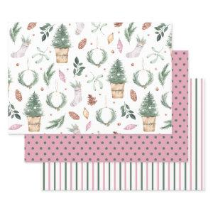 Christmas Watercolor Wrapping Paper Sheet Set
