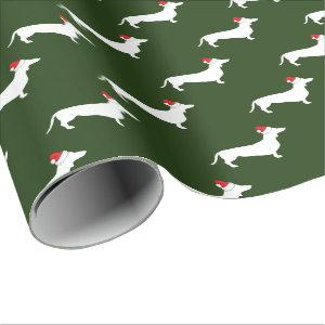 Christmas White Dachshunds & Santa Hats Wrapping Paper
