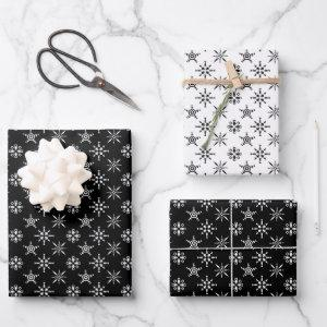 Christmas Winter Snowflake Pattern Black & White Wrapping Paper Sheets