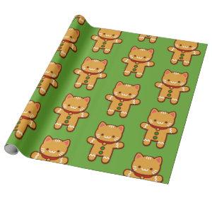 Christmas Wrapping Paper - GINGERBREAD CAT