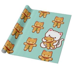 Christmas Wrapping Paper - Hungry Cat Gingerbread