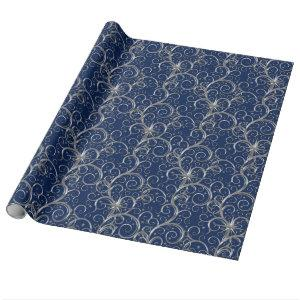 Christmas Wrapping Paper-Majesty Silver Swirls Wrapping Paper