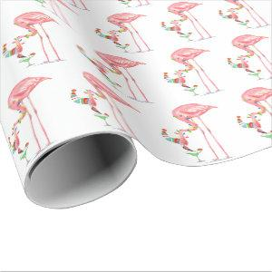 Christmas Wrapping Paper - Pink Flamingo Cheers