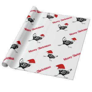 Christmas Wrapping Paper-Santa Chickens Wrapping Paper