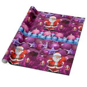 Christmas Wrapping Paper Santa Purple