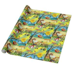 Christmas Wrapping Paper Summer Beach Bum Santa