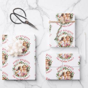 Christmas wreath and red Happy Holidays photo Wrapping Paper Sheets