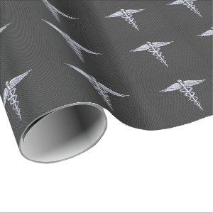 Chrome Caduceus Medical Symbol Carbon Fiber Decor Wrapping Paper
