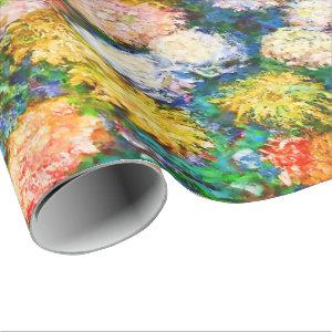 Chrysanthemum Flowers in a Vase Monet Fine Art Wrapping Paper