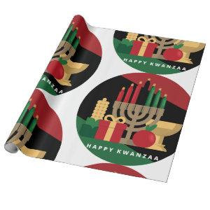 circle Happy Kwanzaa wrapping paper