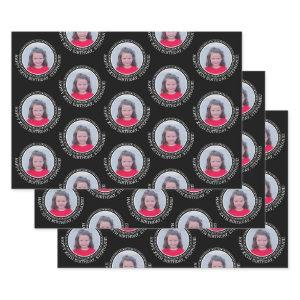 Circle One Photo Happy Birthday Greeting - Black Wrapping Paper Sheets
