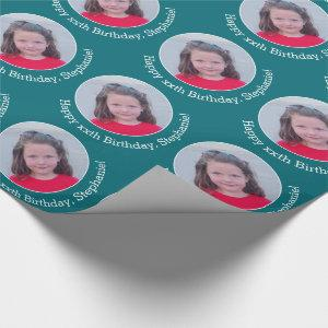 Circle One Photo with Birthday Greeting - Blue Wrapping Paper