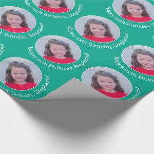 Circle One Photo with Birthday Greeting Emerald Wrapping Paper