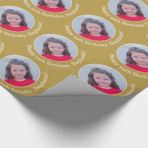 Circle One Photo with Birthday Greeting - Gold Wrapping Paper