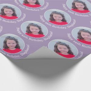 Circle One Photo with Birthday Greeting - Lilac Wrapping Paper
