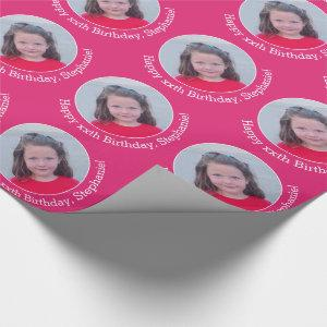 Circle One Photo with Birthday Greeting Magenta Wrapping Paper